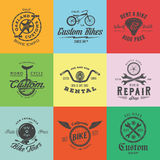 Retro Custom Bicycle Vector Labels or Logo Templates Set. Bike Symbols, Such as Chains, Wheels, Saddle, Bell, Wrench, etc. With Vintage Typography. On Colorful royalty free illustration