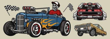 Free Retro Custom Cars Colorful Composition Stock Image - 217543651