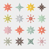 Retro Cut Paper Stars Set Stock Image