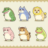 Retro cute animals set Stock Photos