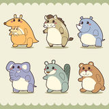Retro cute animals set Stock Images