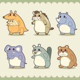 Retro cute animals set Stock Images