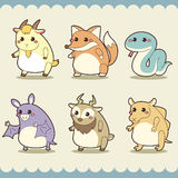 Retro cute animals set Stock Photo