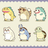 Retro cute animals set Royalty Free Stock Photos