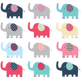 Retro Cute Elephant pattern Stock Photography
