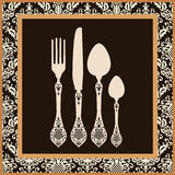 Retro cutlery menu card Stock Photography