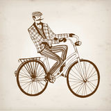 Retro cyclist vector illustration Stock Photography