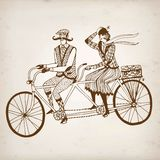 Retro cyclists  illustration Stock Photography