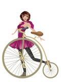 Retro cykel och flicka Royaltyfri Foto