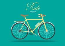 Retro cykel på gröna bakgrunder, Arkivfoto