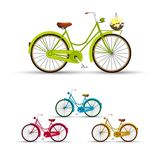 Retro cykelillustrationblommor Arkivfoto