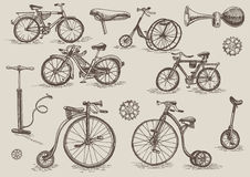 Retro cyklar stock illustrationer