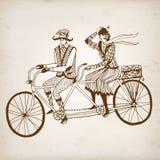 Retro cyklistillustration Arkivbild