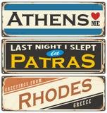 Retro cyna znaka kolekcja z Grecja miasta imionami Zdjęcie Royalty Free