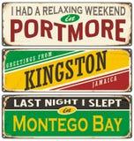 Retro cyna znaka kolekcja z Jamajka miastami royalty ilustracja