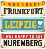 Retro cyna znaka kolekcja z Niemieckimi miastami ilustracja wektor