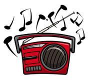 Retro czerwony kaseta gracz z muzycznymi notatkami fotografia stock