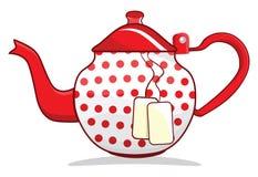 Retro czerwony teapot Zdjęcia Royalty Free
