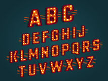Retro 3D alphabet. Retro 3D alphabet with light bulbs. Retro cinema and show signs, glowing lights. Vector illustration Royalty Free Stock Images