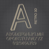 Retro 3D Alphabet and Numbers Vector. Set of Retro 3D Alphabet and Numbers Vector Stock Images