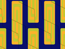 Retro 3D blue green and orange zigzag cut with rectangles. Abstract layered pattern. Bright colored background with realistic shadow and thee dimensional effect royalty free illustration