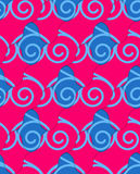 Retro 3D blue and pink wavy stripes crossed. Abstract layered pattern. Bright colored background with realistic shadow and thee dimensional effect Stock Images