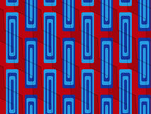 Retro 3D blue and red zigzag cut with rectangles Stock Images