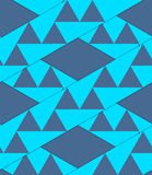 Retro 3D blue stripes with triangles crossed. Abstract layered pattern. Bright colored background with realistic shadow and thee dimensional effect Stock Photography
