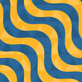 Retro 3D blue and yellow waves with overplayed triangles. Abstract layered pattern. Bright colored background with realistic shadow and thee dimentional effect Stock Images