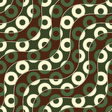 Retro 3D brown green and yellow waves and donates Stock Images