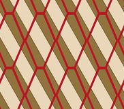 Retro 3D brown and red diamond net. Abstract layered pattern. Bright colored background with realistic shadow and thee dimensional effect vector illustration