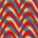 Retro 3D bulging red and blue waves diagonally cut Stock Photography