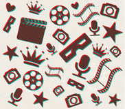 Retro 3d cinema background Royalty Free Stock Photo