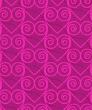 Retro 3D deep pink swirly hearts Stock Photos