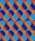 Retro 3D diagonal cut blue and orange waves. Abstract layered pattern. Bright colored background with realistic shadow and thee dimensional effect vector illustration
