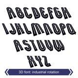 Retro- 3d gesetzt mit Linien in der Rotation, vector Versalien-callig Stockfotos