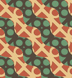 Retro 3D green and brown waves and circles Stock Images