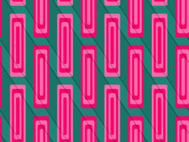 Retro 3D green and pink diagonally cut with rectangles. Abstract layered pattern. Bright colored background with realistic shadow and thee dimensional effect Stock Image