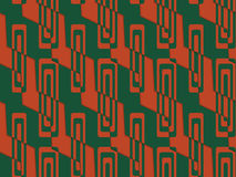 Retro 3D green and red zigzag cut with rectangles. Abstract layered pattern. Bright colored background with realistic shadow and thee dimensional effect royalty free illustration
