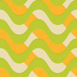 Retro 3D green waves with orange stripes. Abstract layered pattern. Bright colored background with realistic shadow and thee effect Royalty Free Stock Images