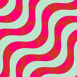 Retro 3D green waves overlapping red circles. Abstract layered pattern. Bright colored background with realistic shadow and thee dimensional effect stock illustration