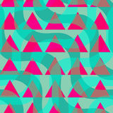 Retro 3D green waves and purple triangles Royalty Free Stock Photos