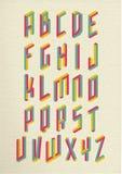 Retro 3d impossible shapes type font set stock illustration