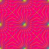 Retro 3D magenta golven en gele stralen Stock Afbeeldingen