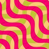 Retro 3D magenta groene overlappende golven Stock Foto's