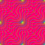 Retro 3D magenta waves and yellow rays Stock Images