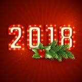 Retro 3d 2018 numerico Immagine Stock