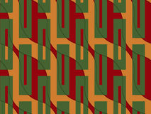 Retro 3D orange and red wavy with green rectangles. Abstract layered pattern. Bright colored background with realistic shadow and thee dimensional effect Stock Photos