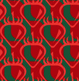 Retro 3D red and deep green wavy cut strawberry Stock Image