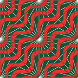 Retro 3D red green waves and rays Stock Photography